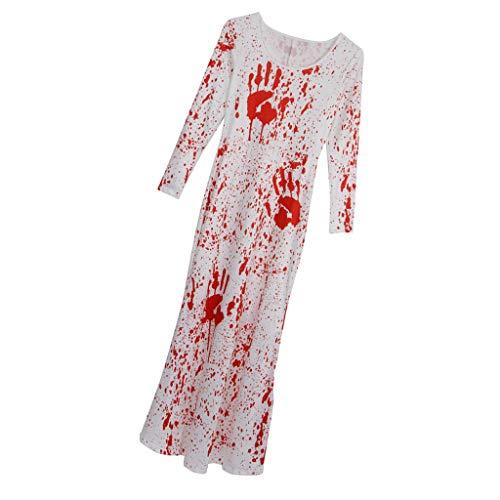 Fenteer 3D Print Blutiges Zombie Brautkleid Halloween Kleid Cosplay Kostüm, Größenwahl - L oder...