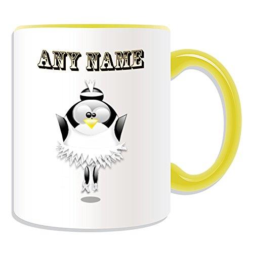 chenk–Ballett Tänzerin in weiß Tutu Kleid Tasse (Pinguin in Kostüm Design Thema, Farbe Optionen)–alle Nachricht/Name auf Ihre einzigartige–Frau weiblich Mädchen Swan Lake, keramik, gelb (Personalisierte Tutu)