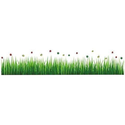 geordiet 20por 28pulgadas mariquita verde hierba frontera decoración de la pared adhesivo de vinilo extraíble Arte de Pared Vinilo nombre vinilo