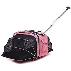 Cutepet Mochila Transportín Carrito 2 En 1 Multiusos Viaje para Perros Gatos Y Otros Animales,Pink