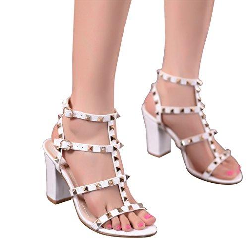 ALUK- Printemps et été - Chaussures sexy à talons hauts en Europe et en Amérique rivetent avec des sandales ( Couleur : Blanc , taille : 36 ) Blanc