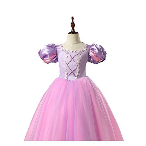 Raperonzolo Ragazze Principessa Vestire La Regina Di Neve Aisha Costumi Disney Dress Autunno Birichino Seta Disney Princess Dress, Anime Cartone Animato Capelli Lunghi Principessa Dress,Purple,S