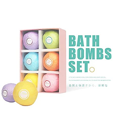 Bath Bombs Gift Set,6 Ultra Essential Oil Handmade Spa Bomb Fizzies Use with Bath Body Bath Bubbles and Bath Beads for Moisturizing Dry