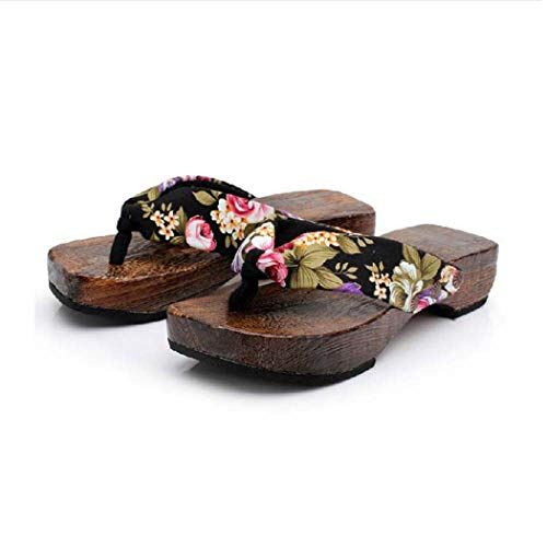 (Hibiscus Hausschuhe Schuhe Wohnungen für Frauen-Sommer-Sandalen japanischen Paulownia Clogs Platform Flip-Flops)