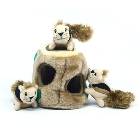 Outward Hound Kyjen 31001 Hide A Squirrel Plush Dog Toy Squeak Toy 4 Piece, Junior, Brown