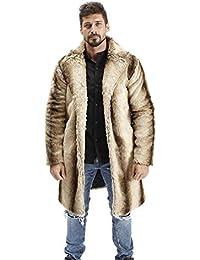Abrigo de Pelo Hombre Chaqueta Invierno Cálido Chaqueta de Piel Sintética Abrigo de Piel Sintética Largas