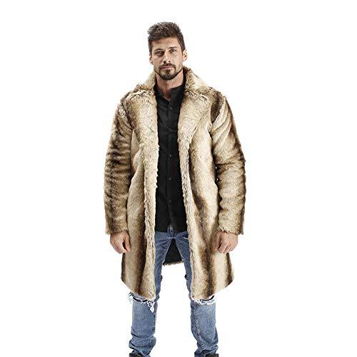 WANPUL Pelzmantel Herren Winterjacke Warme Kunstpelz Mantel Verdicken Felljacke Lange Jacke Faux Fur Pelzjacke Fellmantel Khaki L