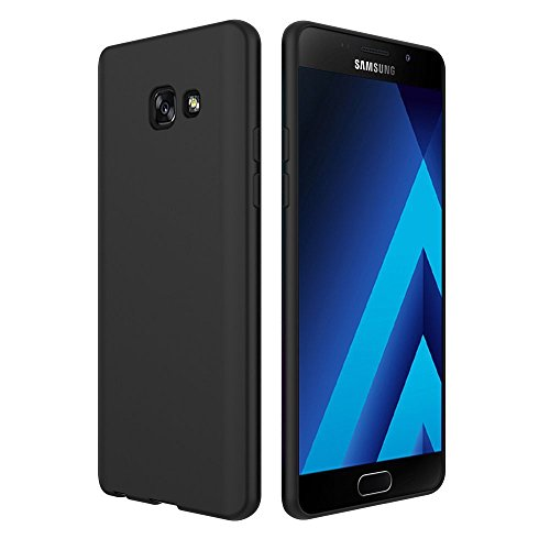 Simpeak Cover Compatible per Samsung Galaxy A5 2017 5.2 Pollice in TPU Nero Opaco, Cover Samsung A5 2017 Morbido TPU Custodia Cover Slim Anti Scivolo Custodia Protezione Posteriore