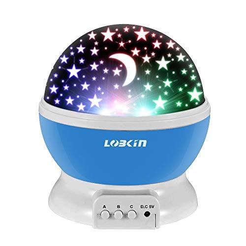 Ecandy 360° drehbarer 3 Modus Lichtprojektor, Romantisches Kosmos Sternhimmel für Schlafzimmer, Nachtlicht für Kinder, Babys, Weihnachtsgeschenk, Liebhaber, USB/Battierie betrieben.(blau)