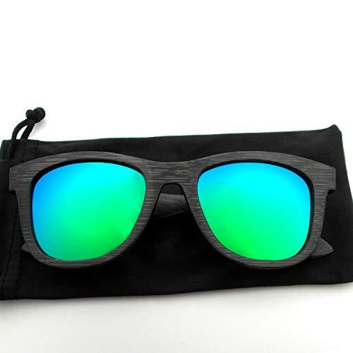 Herren/Damen Polarisierte Bambus Holz Sonnenbrille Gespiegelte Vintage Sportbrillen Leicht Motorräder Radsport Brillen, die im Wasser schweben
