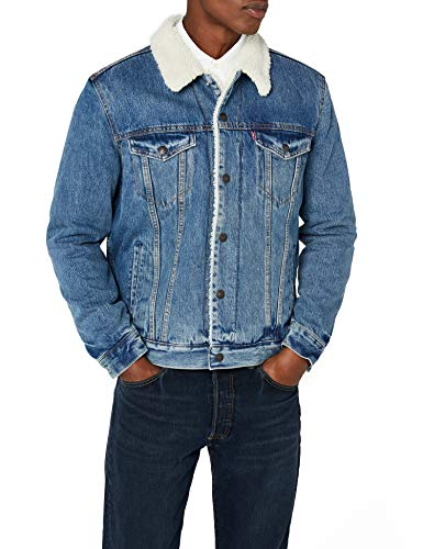 Levi's type 3 sherpa trucker giacca, blu (needle park 40), medium uomo
