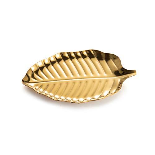 IMEEA Kosmetiktablett Schmuck Tablett Ring Dish Ablage Blattförmiger Schmuckstück Organizer Schale Edelstahl Vanity Tray (Golden) -