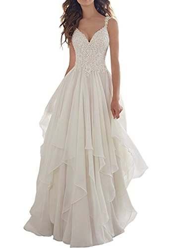 Anjuruisi abito da sposa in chiffon da spiaggia tulle da donna v-neck appliques bianco-32