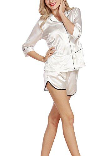 Dolamen Pigiama per Donna, Camicia da Notte Donna, morbida Pigiama Pigiami in Raso, Luxury Controllare bottoni camicia collare con Pocket Chemise Corto Camicia da notte Bianca