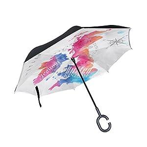 mydaily doble capa paraguas invertido coches Reverse paraguas Watercolor mapa Reino Unido y Escocia resistente al viento UV prueba de viaje al aire libre Paraguas