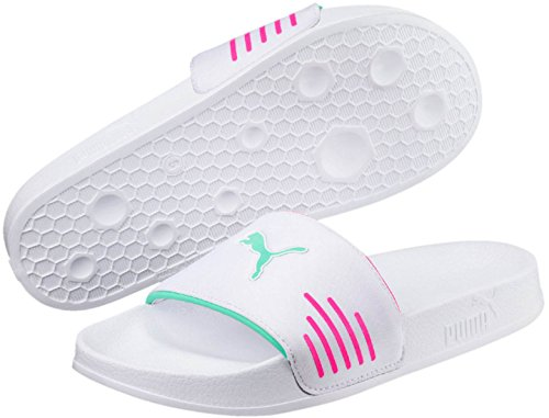 PUMA Women s Leadcat Chase Slide Sandal  White-Knockout Pink-Biscay Green  10 5 M US