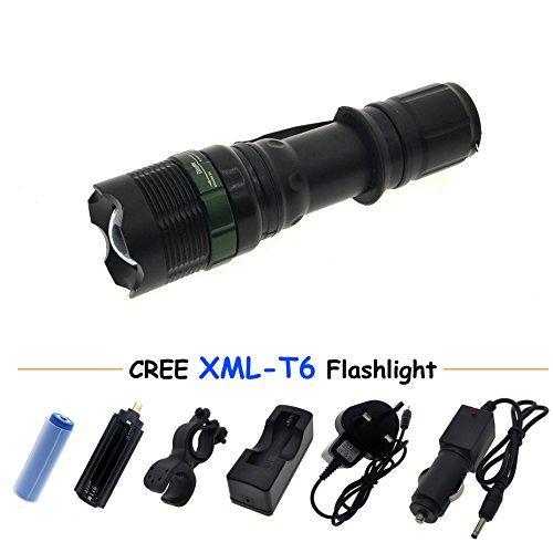 Preisvergleich Produktbild Super helle Cree T6LED-Taschenlampe, 900Lumen 7W Zoomable Taschenlampe mit 3x AAA oder 18650Li-Ion wiederaufladbar Akku Set