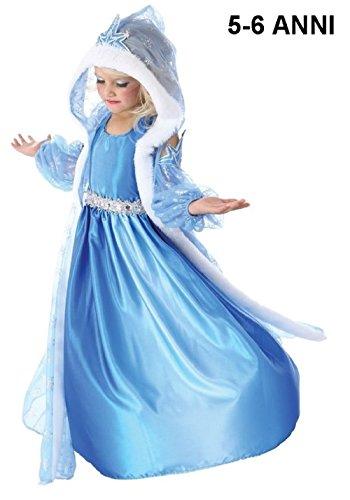 Inception Pro Infinite TG120 - Kleid mit Kapuze - Karnevalskostüm - Gefroren - ELSA - hellblau - 5 - 6 Jahre
