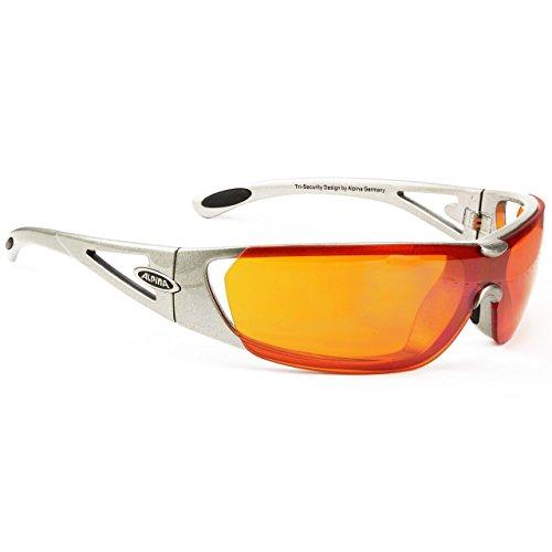 ALPINA Fahrradbrille Sportbrille Sonnenbrille Brille TRI-Security Silver