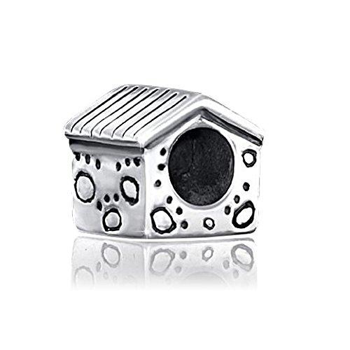 Materia Schmuck 925 Silber Beads Hundehütte Pfoten Anhänger - Beads Hund Hütte Element für European Beads Armband #1410
