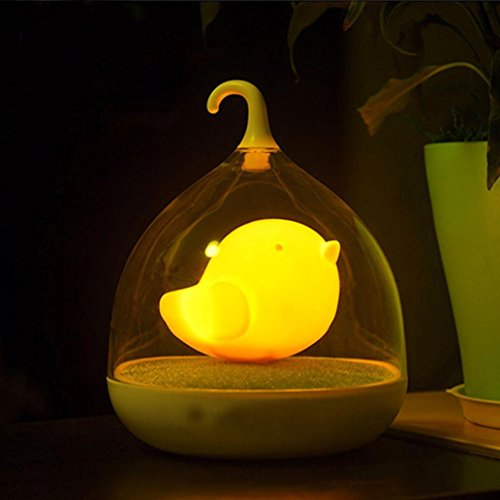 Koly Home Decor Bedroom LED Nightlight Birdcage Lamp Touch Sensor Bird Light (Orange)