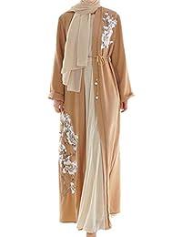MERICAL Moda Musulmana Casual Árabe Medio Oriente Collar de Mujer Vestido de Manga Larga Vestido Encantador