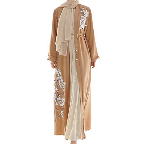BaZhaHei Musulmán Vestido de Manga Larga túnica árabe Musulmana Collar de Mujer Vestido de Manga Larga túnica árabe Musulmana Collar de Mujer para Mujer Retro Manga Larga Blusa Ropa Trajes de Mujer