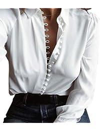 7ae5bafb53b03 FeiTong Chemises Femme, Elégant Mousseline imprimé à Manches Longues Slim  Blouses Mode féminine