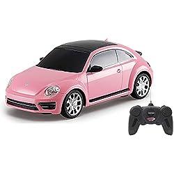 Jamara- 405160-VW Beetle 1:24 Voiture RC, sous Licence Officielle, Environ 1 Heure de Conduite, 9 Km/h, intérieur détaillé, Finition de Haute qualité, éclairage LED, 405160, Rose