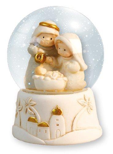 Weihnachten Krippe 3Figuren 7,6cm Kunstharz Snowball, Schneekugel mit Licht Weihnachten Geschenk Krippe mit Stern 9cm (Krippenfiguren Schneekugel)