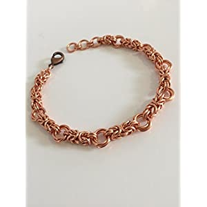 Copper Anniversary Jewellery Gift Byzantine Love Knot Chainmaille Bracelet for Women Birthday Idea