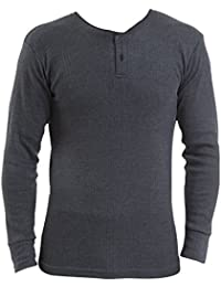 Pack of 2 - Mens Thermal Underwear - Long Sleeved Vest 'Grandad Style' - White/Denim