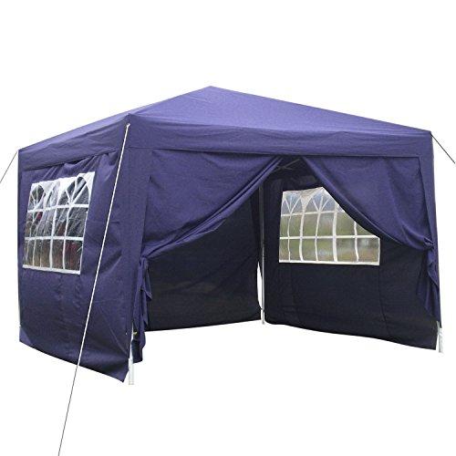 Tomasa 3 x 3m Pavillion Partyzelt Gartenpavillon Polyester Pop up Faltpavillon Festzelt Wasserdicht und Windschutz mit Tragetasche, Transparenten Fenster (Violett)
