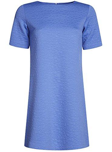 oodji Collection Femme Robe Coupe Droite en Tissu Texturé Bleu (7500N)