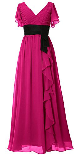 MACloth Women V Neck Short Sleeve Long Bridesmaid Dress Mother Formal Party Gown Fuchsia