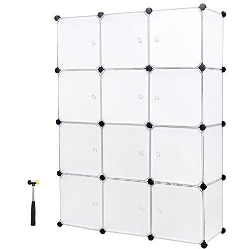Songmics Regalsystem Aufbewahrung Regal Steckregal Schrank Kleiderschrank Kapazität 600L Weiß 148 x 112 x 37 cm LPC34W