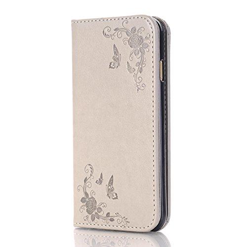 SKYXD für iphone 7 Hülle Leder Rosen Blumen und Schmetterlings Muster,PU Folio Klappbar SchutzHülle [Brieftasche Kartenfach / Magnet / Standfunktion / Trageschlaufe] KlappHülle für mit [Krone Handyanh Color-11