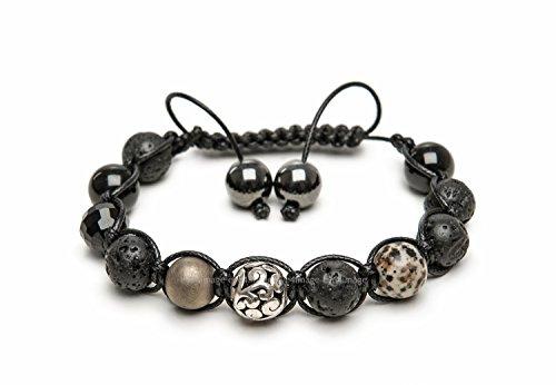 Schwarz Lava Onyx, facettiertem Kristall Silber Karma Dalmatiner Jaspis Bronze Frosted Magnetischer Hämatit Herren/Unisex Shamballa Armband Made in Großbritannien -