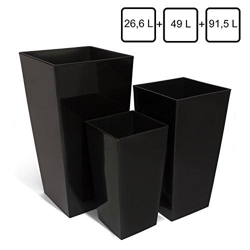 Mix 3 vasi per piante serie Coubi URBI SQUARE 26,6Lt 49Lt 91,5Lt con inserti colore: nero glitterato