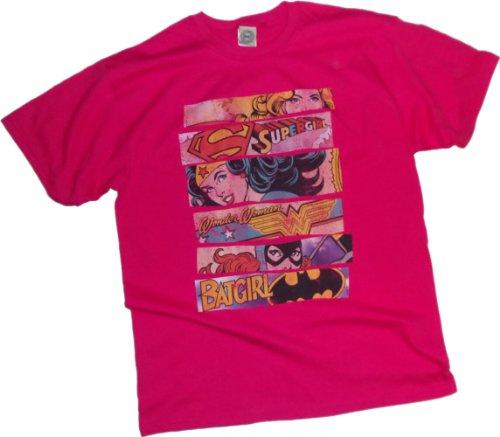 DC Comics T-Shirt für Erwachsene, Supergirl/ Wonder Woman/ Batgirl Pink