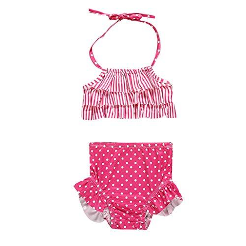 (Baby Badeanzug Mädchen,Staresen Gestreifter Bikini Baby Tankini Bikini Strand Ärmelloser Bikini Kinder Mädchen Schwimmanzug Halftergurt Kinder Geteilter Badeanzug Mit Tupfenmuster)