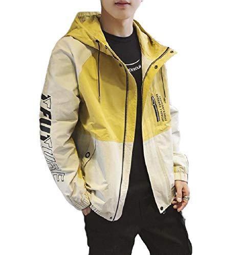 CuteRose Men's with Hood Light Weight Zip-Up Cargo Work Leisure Jackets Yellow 2XL -