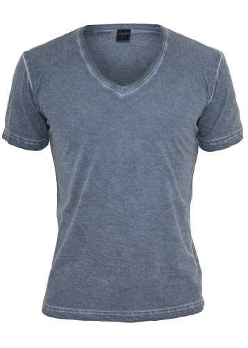 Urban Classics Spray Dye V-Neck T-Shirt, Denim Blue