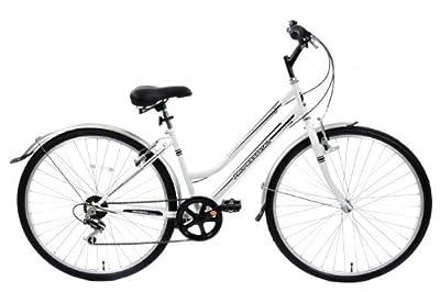 "Cheapest Metropolitan Ladies Hybrid City Bike Upright Riding Postion 6 Speed 16"" Frame White"