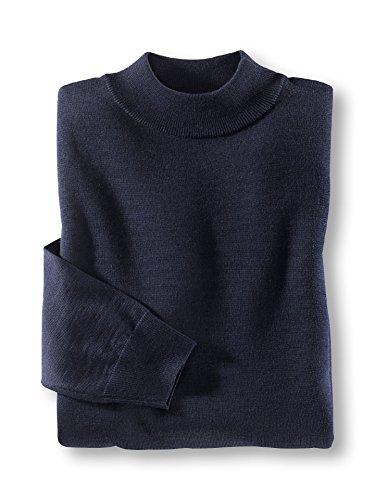 Walbusch Herren Merino-Mix-Pullover einfarbig Stehbund in den Farben Blau, Rot, Schwarz, Marine, Bordeaux, Anthrazit, Jeansblau Marine