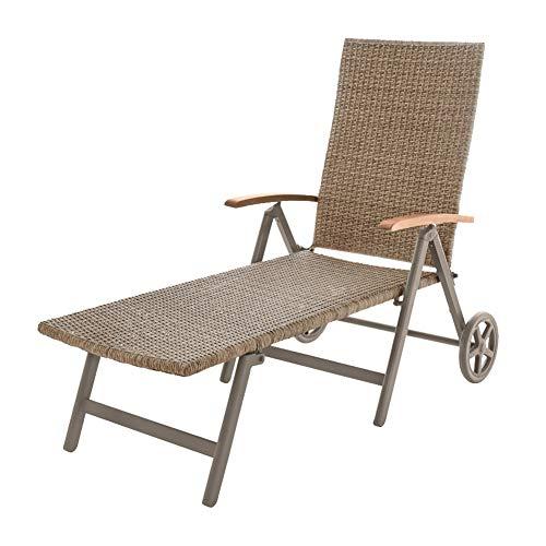 Gardenline Aluminium Rollliege Rolliege Relaxliege Sonnenliege Gartenliege (Braun)