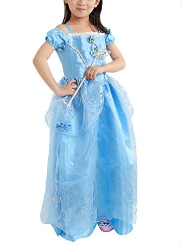 Ghope Mädchen kurzarm Prinzessin Kleid Retro Muster Puffärmel Falten Kostüme Cosplay Mädchen (Muster Aurora Kostüm)