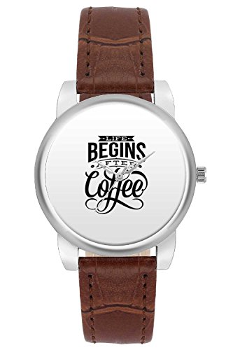 Women's Watch, BigOwl Life Begins After Coffee Designer Analog Wrist Watch For Women - Gifts for her dials
