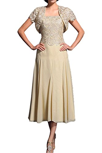 Charmant Damen Champagner 2018 Neu Spitze Wadenlang Brautmutterkleider Abendkleider Partykleider mit Bolero-46 Champagner