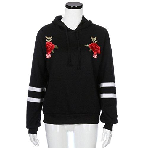 Minetom Donna Autunno Mode Felpe Con Cappuccio Maglie A Manica Lunga Cappuccio Felpa Top Sweatshirt Hoodies Jumper Pullover Nero Fiore2